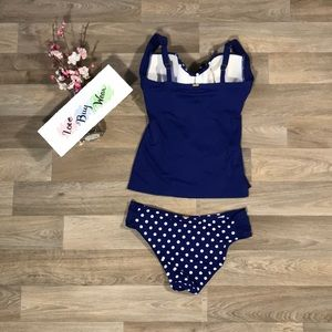 Panache Swim - Panache royal blue polka-dotted two piece suit